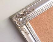 "Large 30""x54"" Champagne Framed CORK BOARD Rustic Elegant Wedding Card Holder Office Silver Gold Vintage Style Huge Wall Organizer Corkboard"