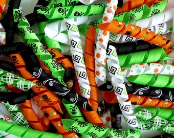 100 Korker Pieces - HALLOWEEN A - Precut, Ends Heat Sealed, Ready to Use - 3/8 Grosgrain Ribbons