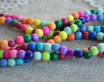 133pcs Mixed Rainbow Wood Natural Beads 6mm Round Macrame Bead