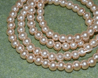 100pcs Champagne Glass Bead  8mm Pearl Round  2 16in Strand
