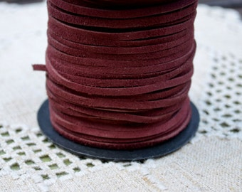 5 meters of 3mm x 1mm Genuine Maroon Real Suede Leather Lace
