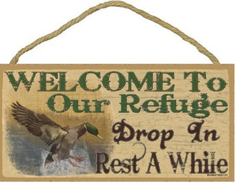 """Welcome To Our Refuge Mallard Duck Rustic Northwoods Lodge Cabin Decor 5""""x10"""" Sign Plaque"""