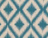 Ikat Fret Woven Tourmaline teal decorative pillow cover