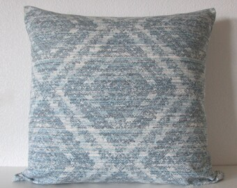 SALE Rustic Rain aztec diamond teal blue decorative pillow cover