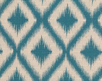 Ikat Fret Woven Tourmaline teal decorative pillow cover