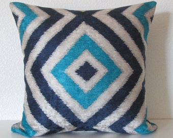 Geo Diamond Peacock colorful blue velvet ikat decorative pillow cover
