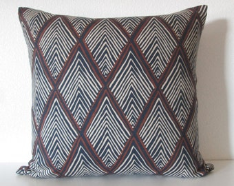 Rhombi Forms Indigo geometric blue brown decorative pillow cover