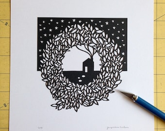 Paper cut illustration. Little House Under the Stars.