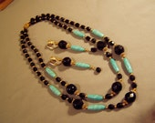 Vintage 1960s 70s Crown Trifari 2 Strand Bead Necklace Earrings Set Black Turquoise Glass Beads 8145