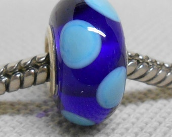 Transparent Blue with Light Blue Dots Lampwork Bead Silver Cored Bead Fits European Charm Bracelets