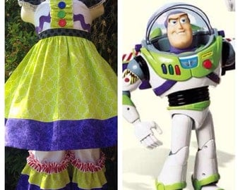 Custom Boutique Buzz Lightyear Inspired Dress and Ruffle Pants
