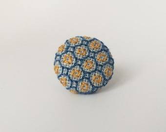 Lapel Pin. Blue and gold square embroidered Tie pin