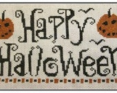 PDF E pattern emailed Happy Halloween Witch Cross Stitch Pattern Sampler 156