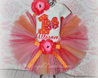 BUTTERFLY PRINCESS Girls Birthday Tutu Outfit or Little Sister in Pink & Orange 3 Piece First, Second, Third Pick Size, Number, and Fabric