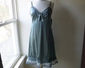 Slip Dress Plus Size Forest Grass Green Glam Garb Handmade USA Romantic Nightie Victorian Steampunk Vintage Hand Dyed Bohemian Hippie Chic