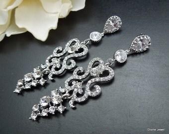 bridal earrings, chandelier bridal earrings, rhinestone earrings, wedding earrings, crystal bridal earrings, statement earrings OLIVIA