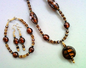 Brown Glass Lampwork Bead Necklace, Bracelet and Earrings (0154)