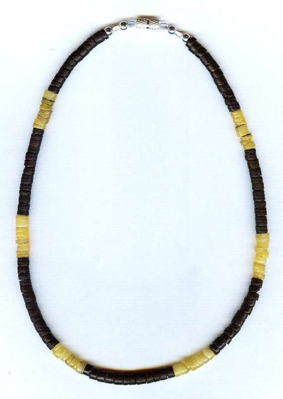 Mens / Unisex Two-tone Jet Black & Yellow Hammershell Heishi Bead Necklace