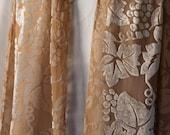 Camel Carmel Brown Grape Design Wine Velvet and Silk Scarf with short fringe