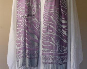 Purple Grey Water Print Silk Rayon Scarf with long fringe