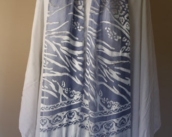Blue and White Water Print Silk Rayon Scarf with long fringe