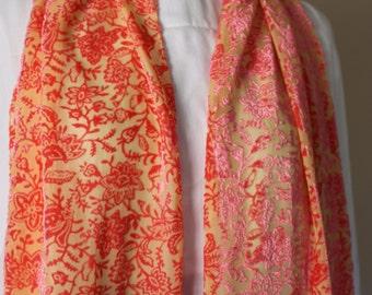 Orange Yellow Henna Orient Velvet and Silk Scarf with short fringe