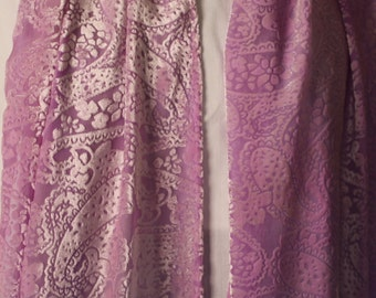 Periwinkle Purple Paisley Fairy Velvet and Silk Scarf with short fringe