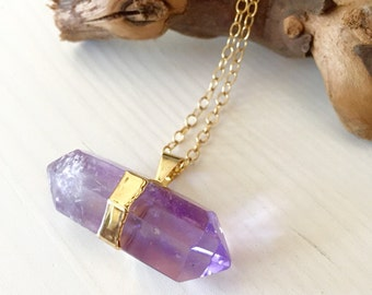 Double sided Amethyst Point / horizontal crystal spike/ amethyst Sideways Point pendant 14k gold filled long necklace