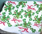 Christmas Vintage VERA Tablecloth, 1980s, Vera Neumann, Holiday Tablecloth, Green Holly, Red Berries, Red Ribbons, 52x47