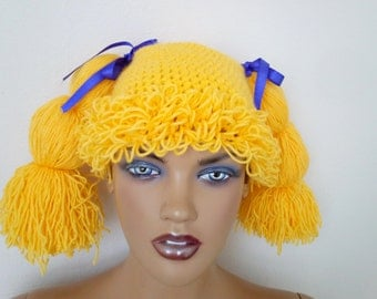 Cabbage patch inspired crochet wig,Halloween costume,Cabbage patch costume,yellow crochet cabbage patch hat,Halloween costume pageant Hair