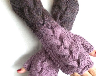 Fingerless Gloves Hand Knit Arm Warmers Pale Violet Purple Maroon Cabled  Extra Long
