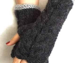 Fingerless Gloves, Cabled, Warm, Wrist Warmers, Dark Grey,  Fingerless, Mittens, Women, Winter