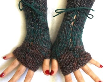 Fingerless Gloves Corset Arm Warmers Brown Taupe Green Violet Women Autumn Accessory Victorian Style