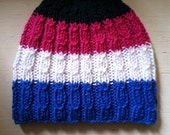 Hand Knit Cable Beanie, Cute And Unique Hand Knit Hat, Striped Beanie - Kids, Adult Beanie