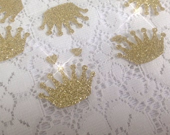 Set of 50 Gold Glitter crown with tiny hearts.