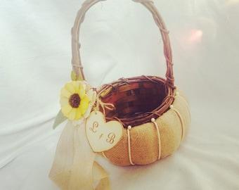 Personalized Flower a Girl Basket - Fall, Harvest Autum Wedding Theme Pumpkin Flower Girl Basket