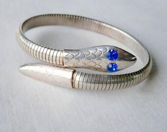 Bypass Snake Bracelet Silvertone Blue Stones Flexible Band Bracelet Coil Serpent Bracelet