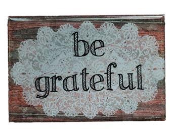 "A set of 2 handmade ""Be Joyful"" & ""Be Grateful"" flat magnets - Gifts under 10 - Joyful - Grateful - Reminder"