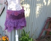 "sweet violet mini skirt, wild lace and silk, 34"" waist / hip"