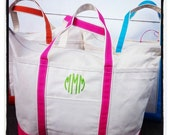 Canvas Beach Tote Bags- Monogrammed Beach Bag from The Palm Gifts - Select Color