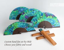 Custom set of five (5) wedding fans - Choose your fabric and wood colour - Bridesmaids fans - personalised wedding favor - FREE SHIPPING