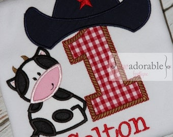 Barnyard or Cowboy Birthday Shirt or Bodysuit - FREE MONOGRAMMING - First Birthday Smash Cake Outfit