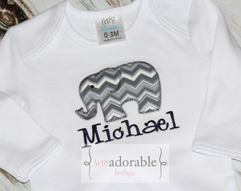 Elephant Baby Gown,  FREE MONOGRAMMING, Coming Home Outfit for Boys, Baby Shower Gown, Monogrammed Gown, Layette Baby Gown, Baby Shower Gift