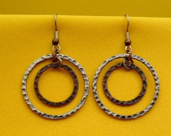 Rings of fire silver and copper earrings (Style #272SC)