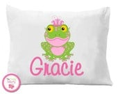 Personalized Princess Frog Pillow Case , Princess Bedding, Girls Bedding
