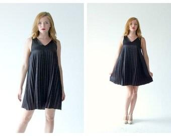 VERSACE Versus 90s Black Satin Babydoll Dress- 26, Small, Designer, Goth LOT 3