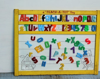 Vintage Teach-A-Tot Toy Magnetic Alphabet Board