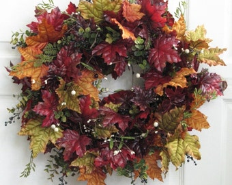 Fall Wreath – Red Maple Leaves – Winter Wreath – Front Door Wreath