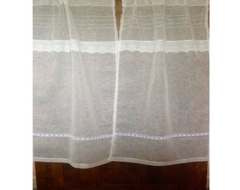 Sheer Lace Curtain, Wrinkle Free Linen Window Curtain, French Style Bedroom Curtain
