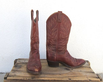 Distressed Cowboy Boots Cognac Leather by Dan Post Size 7D (ladies size 8)